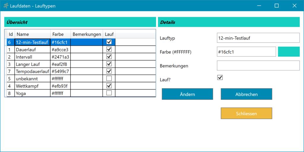 Lauftagebuch Software Einstellungen Lauftypen