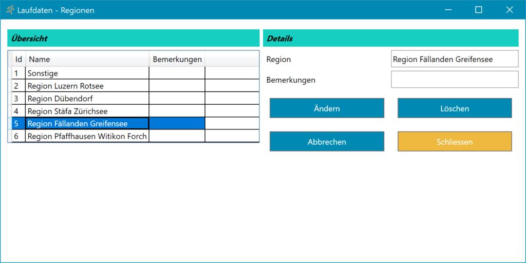 Lauftagebuch Software Einstellungen Regionen